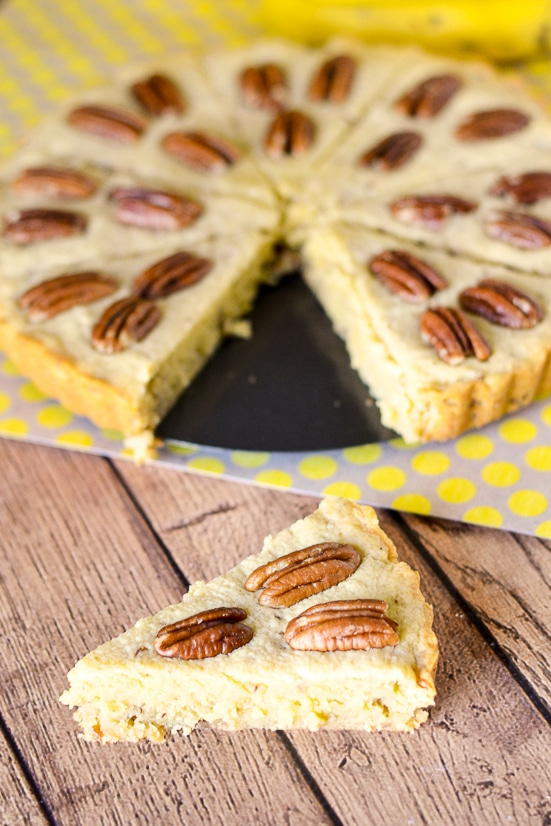 Banana Pecan Shortbread Recipe -Buttery and sweet, this Banana Pecan Shortbread recipe is sure to solve your comfort food craving with ripe, sweet bananas, buttery shortbread, and crunchy pecans. Easy dessert recipe