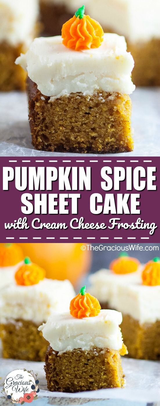 Pumpkin Spice Sheet Cake Recipe -Pumpkin Spice Sheet Cake topped with creamy cream cheese frosting is a classic Fall pumpkin dessert, super easy to make, and a must have for all pumpkin lovers! Delicious pumpkin dessert recipe and SO easy to make too!