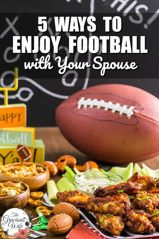 5 Ways to Enjoy Football with Your Spouse -Even if you're not a football fan, you can get in on fun this Fall, too with these5 Ways to Enjoy Football with Your Spouse! Great marriage advice for football season. Love this. Such an awesome way to show your spouse that you're willing to learn about things he's interested in!