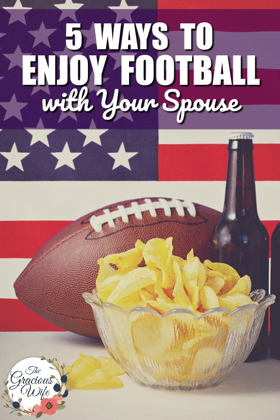 5 Ways to Enjoy Football with Your Spouse - Even if you're not a football fan, you can get in on fun this Fall, too with these 5 Ways to Enjoy Football with Your Spouse! Great marriage advice for football season.  Love this.  Such an awesome way to show your spouse that you're willing to learn about things he's interested in!
