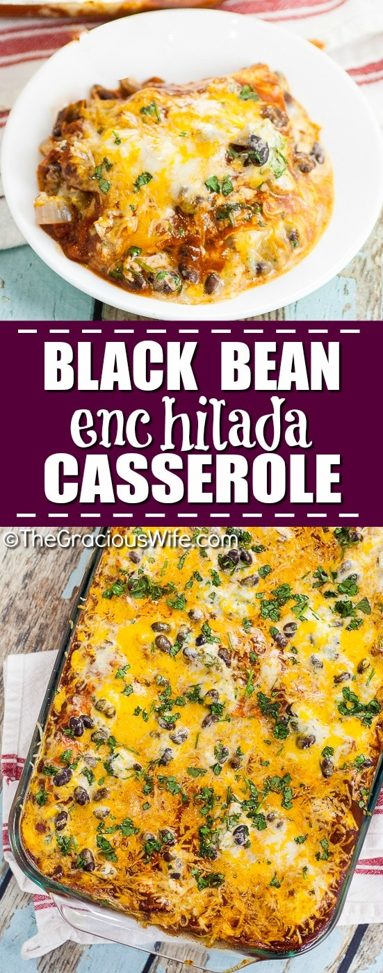 Black Bean Enchilada Casserole Recipe -Quick and easy Black Bean Enchilada Casserole is a perfect easy family dinner recipe with simple ingredients and all your favorite enchilada flavors in a baked casserole.