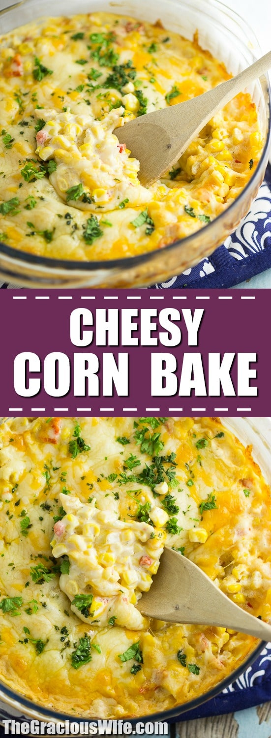 Cheesy Corn Bake Recipe - ThisCheesy Corn Bake recipe is creamy, cheesy, and warm. Basically your perfect casserole and comfort food dream! Perfect for a hearty side dish at home, or a dish to pass at a potluck or holiday dinner! Ooooh. This would be an amazing Thanksgiving side dish too!