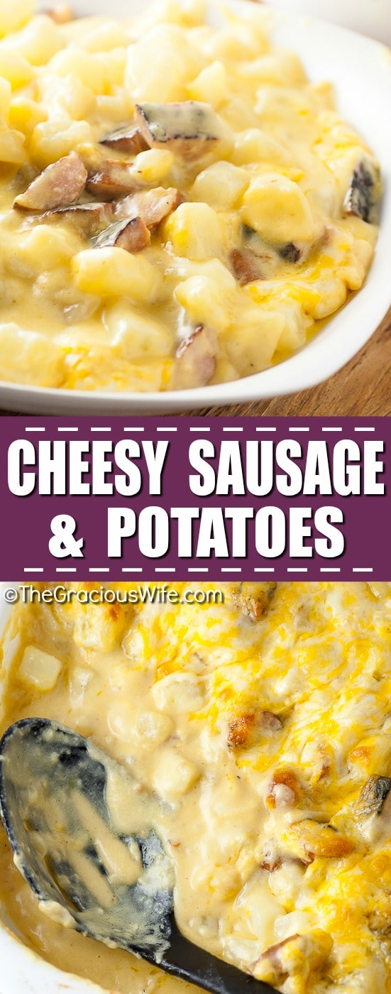 Cheesy Sausage and Potatoes Recipe -Cheesy Sausage and Potatoes are comfy, cozy, and easy to make. Lots of potatoes, lots of cheese. Easy dinner recipe for a quick and easy weeknight meal. What makes it amazing is that it's classic and simple. An ultimate comfort food.