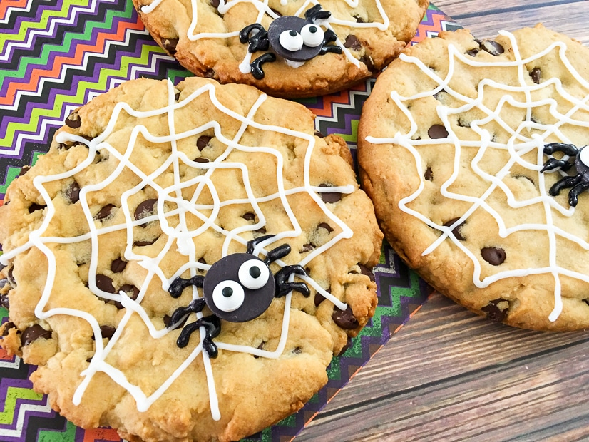 Jumbo Spiderweb Cookies Recipe for Halloween -Jumbo Spiderweb Cookies are a fun, quick, and easy Halloween treat for kids. They're big enough to share and made with the all-time BEST chocolate chip cookies recipe. How fun! My kids will love these! Definitely making for their Halloween party treat!