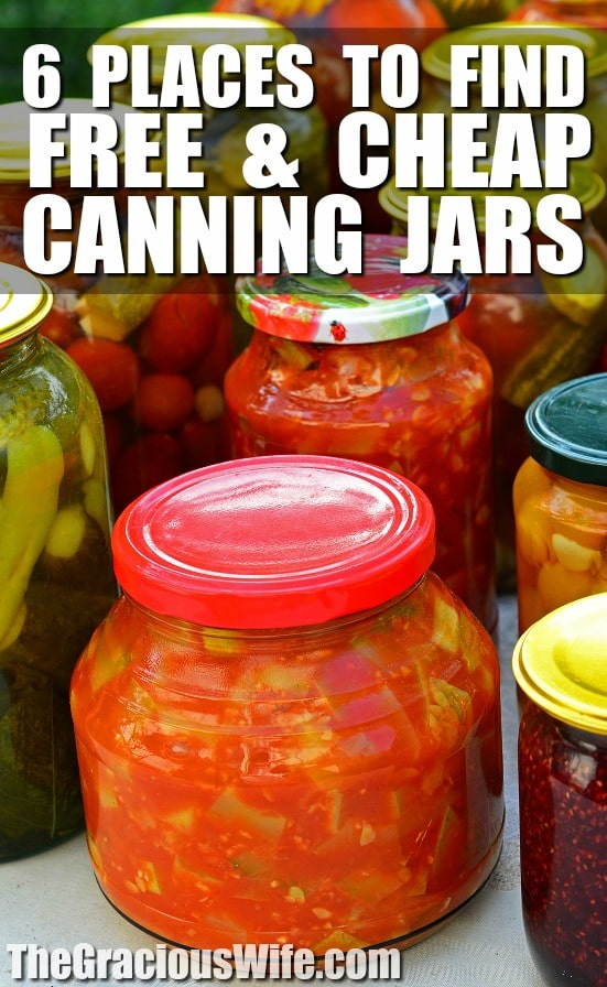 6 Places to Find Free or Cheap Canning Jars - If you're looking to get into canning, you'll need to find some canning jars! Check out these 6 Places to Find Free and Cheap Canning Jars to get you started! Great ideas to save even more money on a budget for canning!