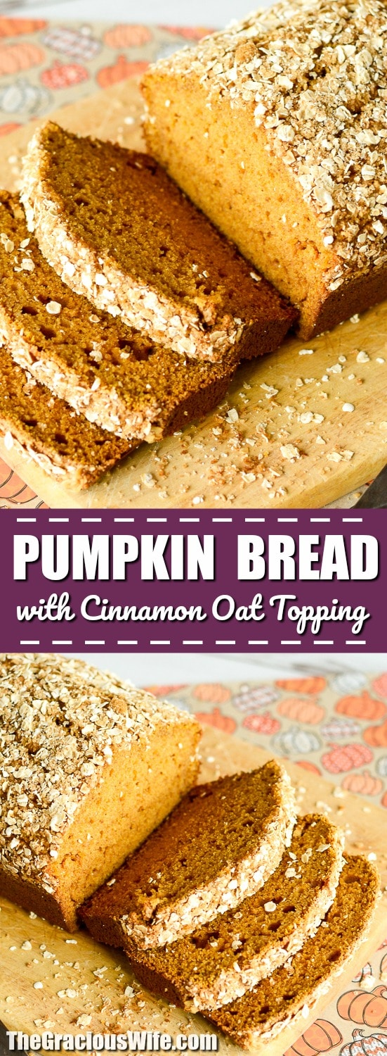 Pumpkin Bread with Cinnamon Oat Topping Recipe -Warm and fragrant Pumpkin Bread with Cinnamon Oat Topping is the best easy pumpkin bread recipe you can find. Plus it's made with a cinnamon oat streusel topping!