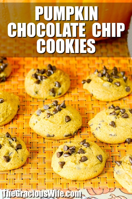 Pumpkin Chocolate Chip Cookies Recipe -Soft, chewy Pumpkin Chocolate Chip Cookies are the perfect cookies for Fall with gooey chocolate chips and your favorite pumpkin spice!