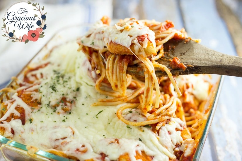 Chicken Parmesan Spaghetti Bake - 8 Ways to Transform Chicken Nuggets into Dinner in 5 Ingredients or Less -Use these8 Ways to Transform Chicken Nuggets into Dinner in 5 Ingredients or Lesswith 8 different easy recipes to change up a favorite into a quick and easy family dinner.