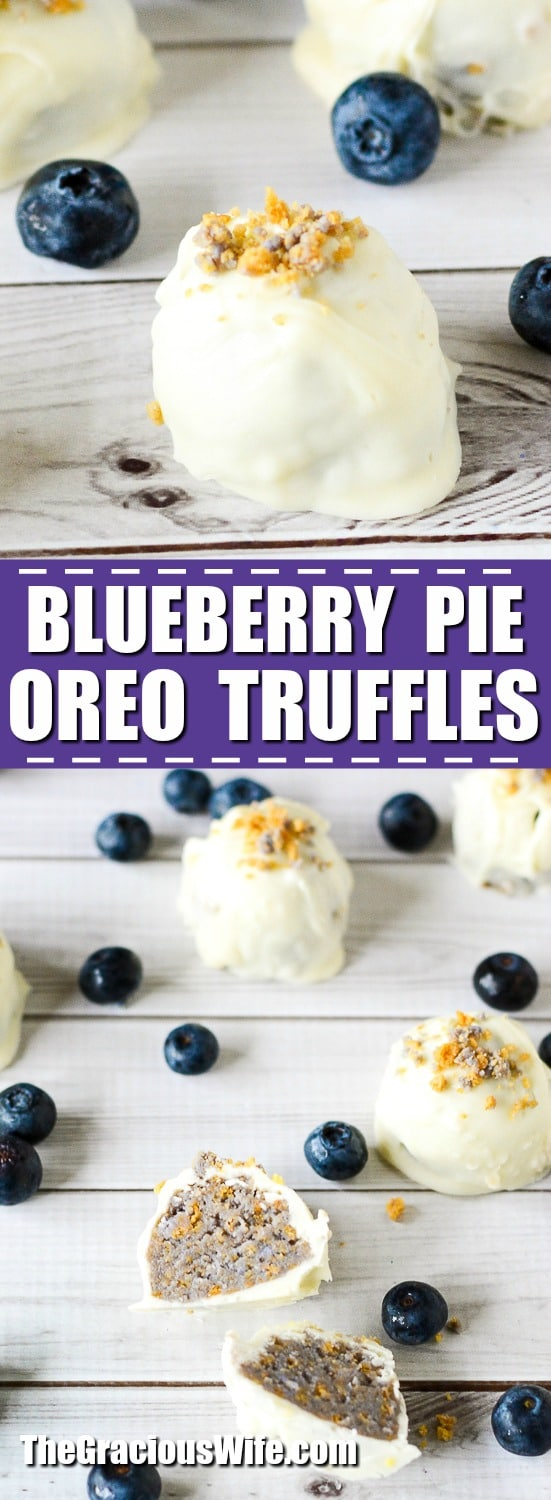 Blueberry Pie Truffles Recipe - No bake Blueberry Pie Truffles recipe with cinnamon and white chocolate are easy to make but hard to stop eating! Truffles are the best. Plus with just 4 ingredients these really are a quick and easy no bake dessert recipe!