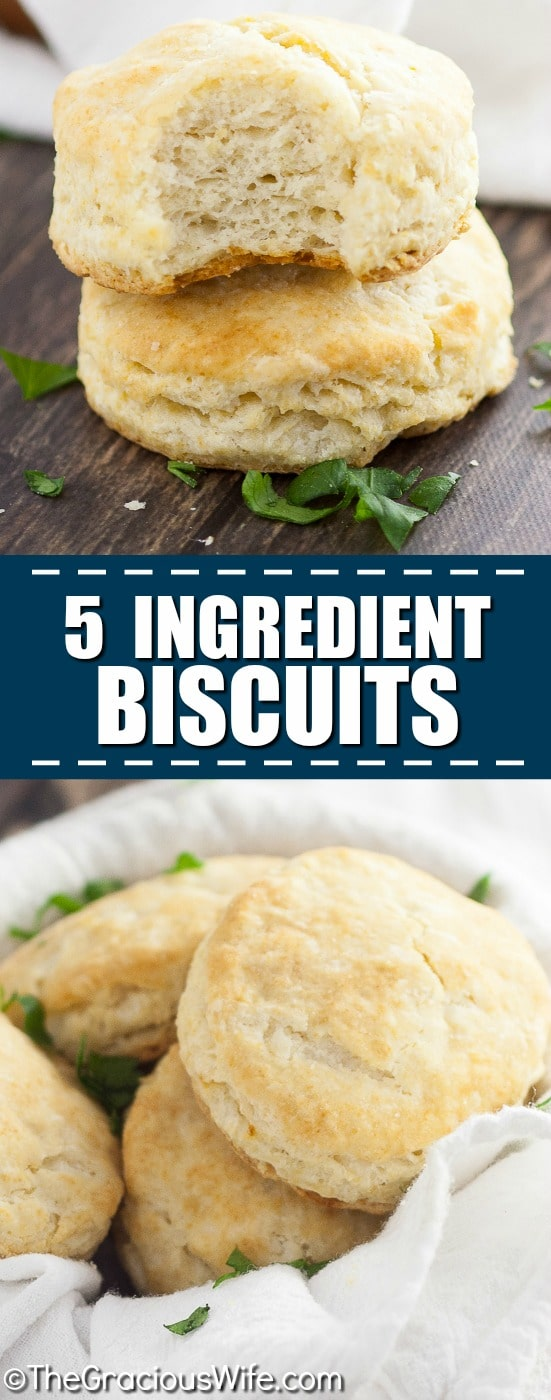 Easy, flaky 5 Ingredient Biscuits Recipe -No need to be intimidated by making biscuits with this quick and easy 5 Ingredient Biscuits with just five simple ingredients for flaky delicious biscuits!