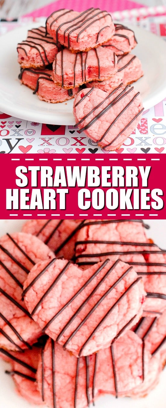 Strawberry Heart Cookies Recipe - OMG! You will never believe how easy these cookies are to make. These 5 Ingredient Strawberry Heart Cookies come out perfect every time! Unbelievably delicious and EASY Strawberry Heart Cookies drizzled in chocolate and made with just 5 ingredients! They're easy to make because they start from cake mix!