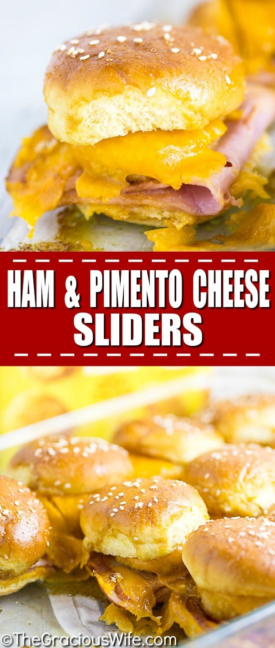 Warm and gooey Ham and Pimento Cheese Sliderstake just 5 minutes to prep! Buttery sweet buns, salty ham, creamy and zesty Pimento Cheese Bites make a flavorful explosion in your mouth. Dip them in the sweet and tangy Red Pepper Jelly sauce to take them from great to drool-worthy. These sliders make an amazing quick and easy snack or easy appetizer. So. Good.
