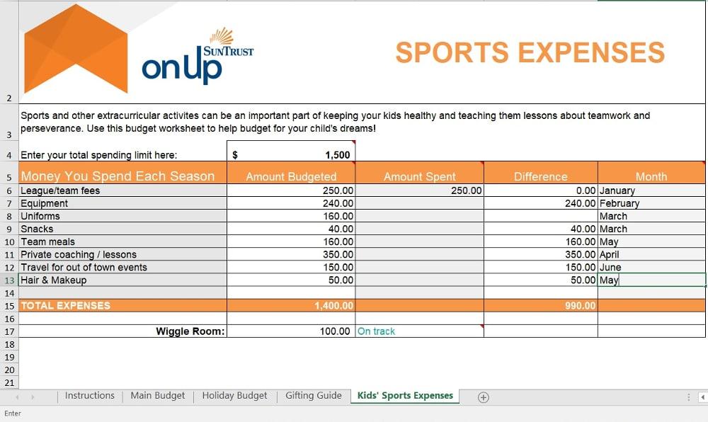 SunTrust Budget Worksheet