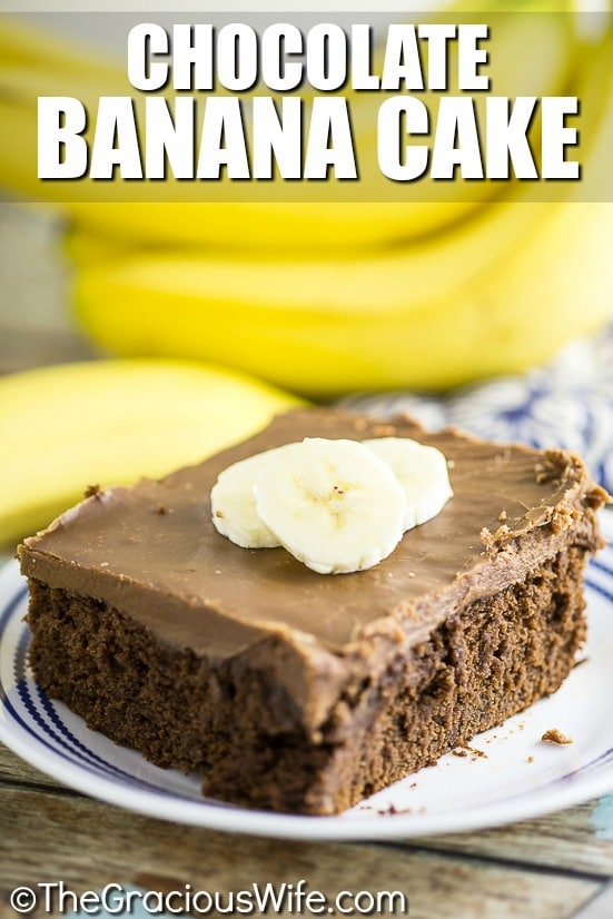 Moist and rich Chocolate Banana Cake topped with the most heavenly, to-die-for chocolate frosting makes a decadent but easy dessert that everyone will love! You'll be licking the frosting out of the pan! It's so good!