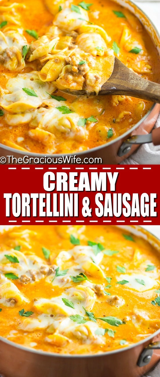 Italian sausage and tortellini nestled in a creamy tomato sauce and topped with gooey mozzarella cheese in this Creamy Sausage and Tortellini make a quick and easy pasta dinner that the whole family will love! Adelicious one pan meal that combines the tender, cheese filled pasta with savory sausage and wraps it all in a creamy cheesy tomato sauce. One bite and you'll wonder where it's been all your life!