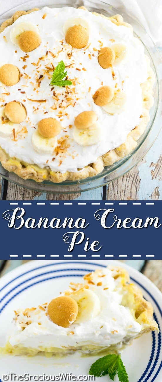 This light and fluffy Banana Cream Pie recipe with pudding is loaded with fresh bananas and silky filling, then topped with piles of  homemade whipped cream and toasted coconut. The end result of this homemade old-fashioned banana cream pie is beyond words. The banana lovers you bake it for will be in pie heaven.