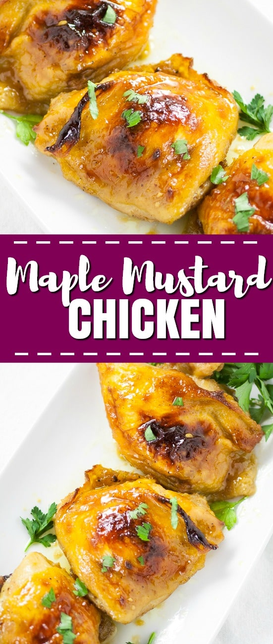 Maple Mustard Chicken is a a super quick and easy dinner that packs in a whole lot of flavor! Tangy dijon mustard and sweet maple syrup on juicy chicken is a delicious combination that the whole family will love!