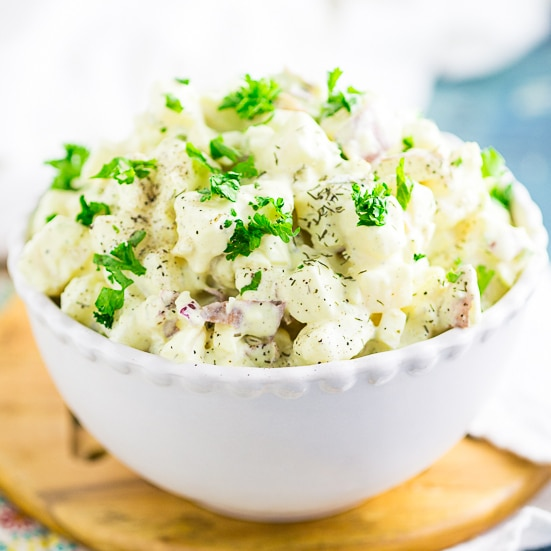 Creamy Southern Red Potato Salad with red potatoes, hard boiled eggs, mayo, mustard, and relish.Once you try this amazing potato salad recipe, you'll never make potato salad any other way! Perfect for potlucks, BBQs, cookouts, and basically every day!