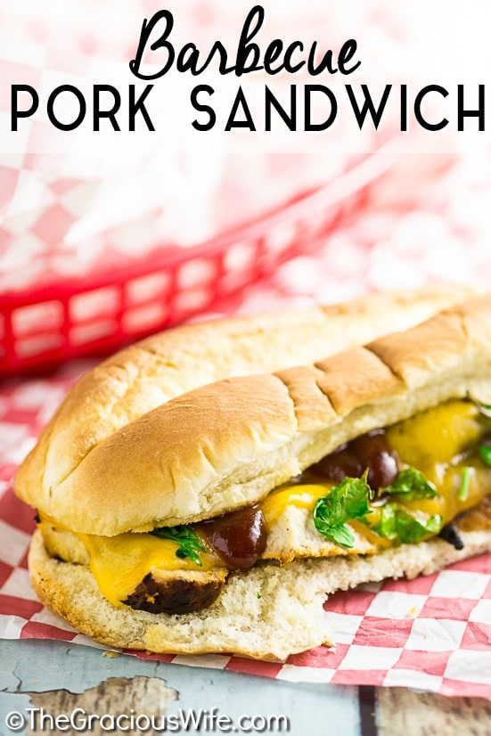 Tender, juicy, and zesty Grilled Barbecue Pork Tenderloin Sandwich features juicy grilled pork tenderloins smothered in barbecue sauce, topped with cheese and sauteed onions, all on a roll.
