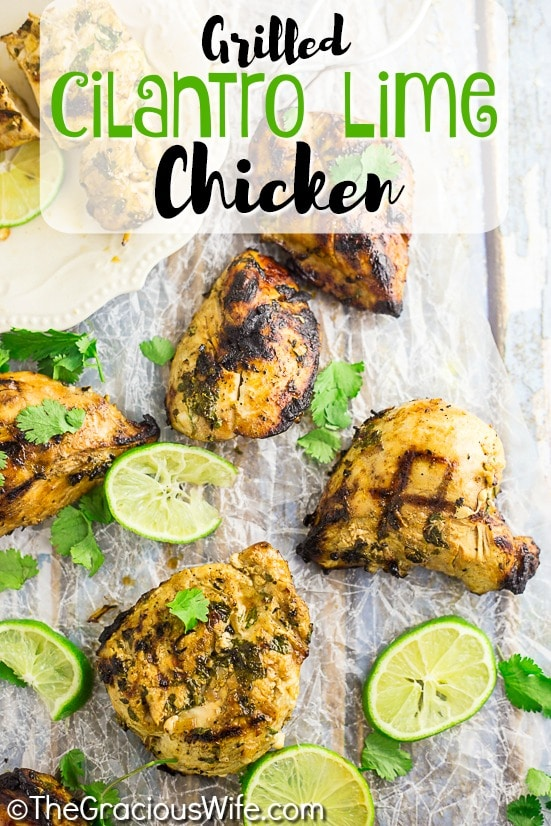 Grilled Cilantro Lime Chicken is a juicy Mexican-inspired chicken marinated with cilantro, lime, and garlic. Marinated for hours in a flavorful lime cilantro marinade and then thrown onto the grill, this extra-juicy chicken delivers a punch of irresistible summer flavors!