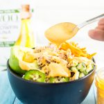 Spicy Tuna Roll Bowl Recipe - This Spicy Tuna Roll Bowl is based off a sushi favorite: spicy tuna rolls! It is so easy to make and so yummy! It includes all of the fixings of a spicy tuna roll, including tuna, cucumber, avocado, rice, and a spicy mayo dressing, all in the ease of one bowl!