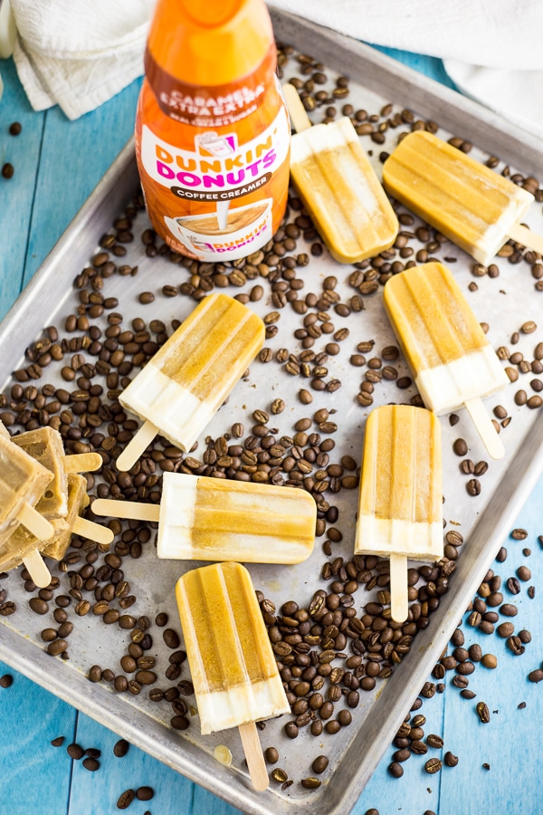 Homemade Caramel Macchiato Ice Pops that are perfect for summer. Even better than iced coffee or your favorite caramel macchiato drink, these popsicles are cool, creamy, and refreshing!