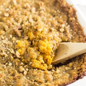 Sweet Potato Casserole Recipe -This Sweet Potato Casserole with pecans is my absolute FAVORITE side dish at Thanksgiving or anytime really! It features features buttery mashed sweet potatoes and a crumbly brown sugar and pecan topping. It is perfectly sweet with a delicious crumb topping!