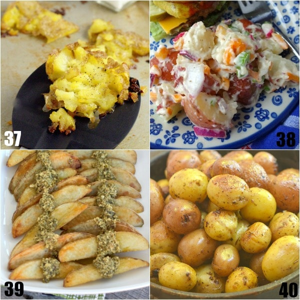 92 Potato Side Dish Recipes -Looking for new ways to serve up your classic favorite? Check out these 92 Potato Side Dish Recipes that are perfect for potlucks, picnics, holidays, and even just family dinner! So many amazing recipes! Mashed, stacks, roasted, scalloped, smashed, salad, au gratin, baked, cheesy, buttery, and more. Oohhh! These recipes would be amazing for potlucks, Thanksgiving, Easter, or Christmas. All those pictures are making my mouth water!