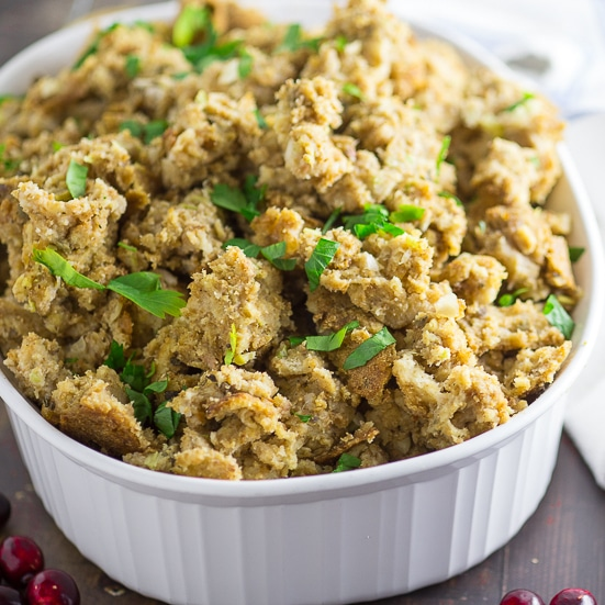 Traditional Stuffing Recipe -The BEST Traditional Stuffing recipewith classic ingredients made truly amazing by a couple special tricks from grandma's kitchen! #recipe #Thanksgiving #stuffing #dressing #stuffingrecipe #ThanksgivingRecipe