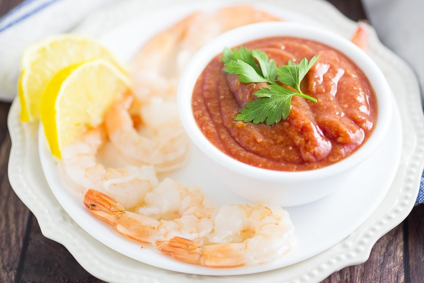 Homemade Shrimp Cocktail Sauce Recipe -Fresh and zesty Homemade Shrimp Cocktail Sauce recipe with just 5 simple ingredients. Serve with your next shrimp cocktail! This shrimp cocktail recipe is SO easy and well worth the effort! Perfect, classic appetizer!
