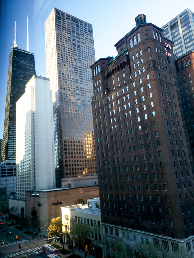 View of the Magnificent Mile and the John Hancock tower from a room window at the Omni Chicago Hotel