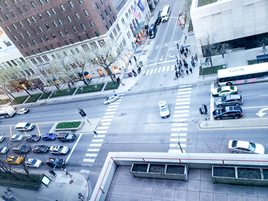 View of cars driving down Michigan Avenue from the room window at the Omni Chicago Hotel