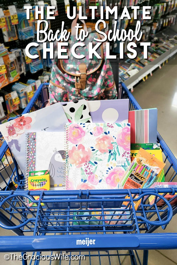 Blue Meijer Shopping cart filled with girly school supplies
