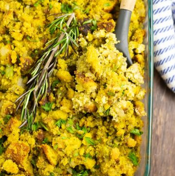 A traditional Southern Cornbread Dressing recipe perfectly seasoned with onions, celery, and sage. Makes a delicious addition to every holiday table.