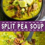 Thick and hearty, this Split Pea Soup is a creamy old fashioned recipe that's easy to make right on the stove top. Perfect to use up leftover ham and warm you up on a cold day. Made with a hambone or hamhock cooked in with the peas for extra flavors and potatoes for even more warm filling comfort. Top with bacon and croutons for a beautiful delicious soup. Plus, video!