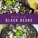 Homemade Refried Black Beans are not only healthy and vegan, but indescribably rich. Despite it's simple ingredients, this recipe packs big creamy flavor with a perfect smooth texture. Make them from canned beans or dried beans. Perfect for a Mexican side dish, tacos, burritos, or enchiladas.